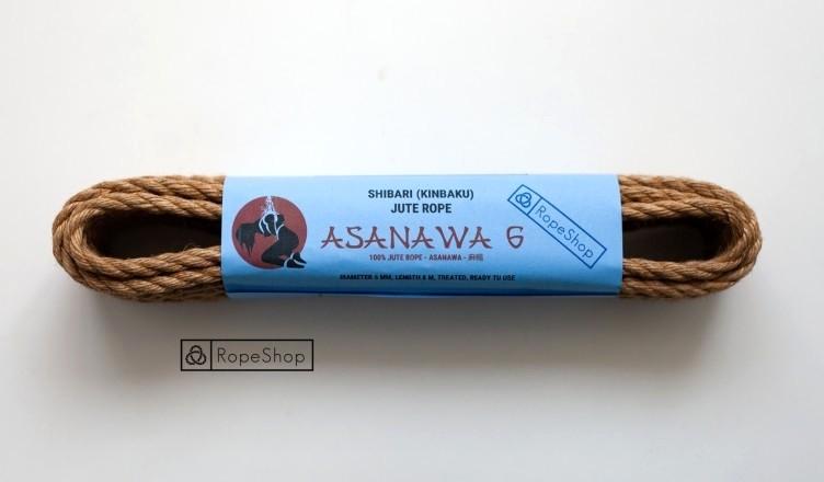 Веревка для шибари 6 мм. джутовая Asanawa 6 (Japan) обработанная, натуральная