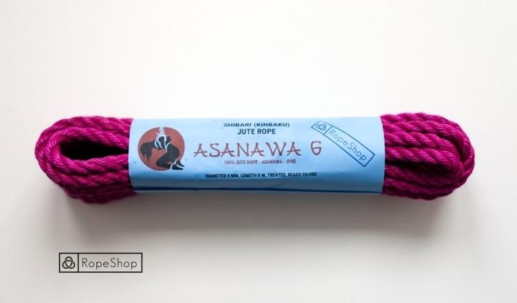 Веревка для шибари 6 мм. джутовая Asanawa 6 (Japan) обработанная, розовая