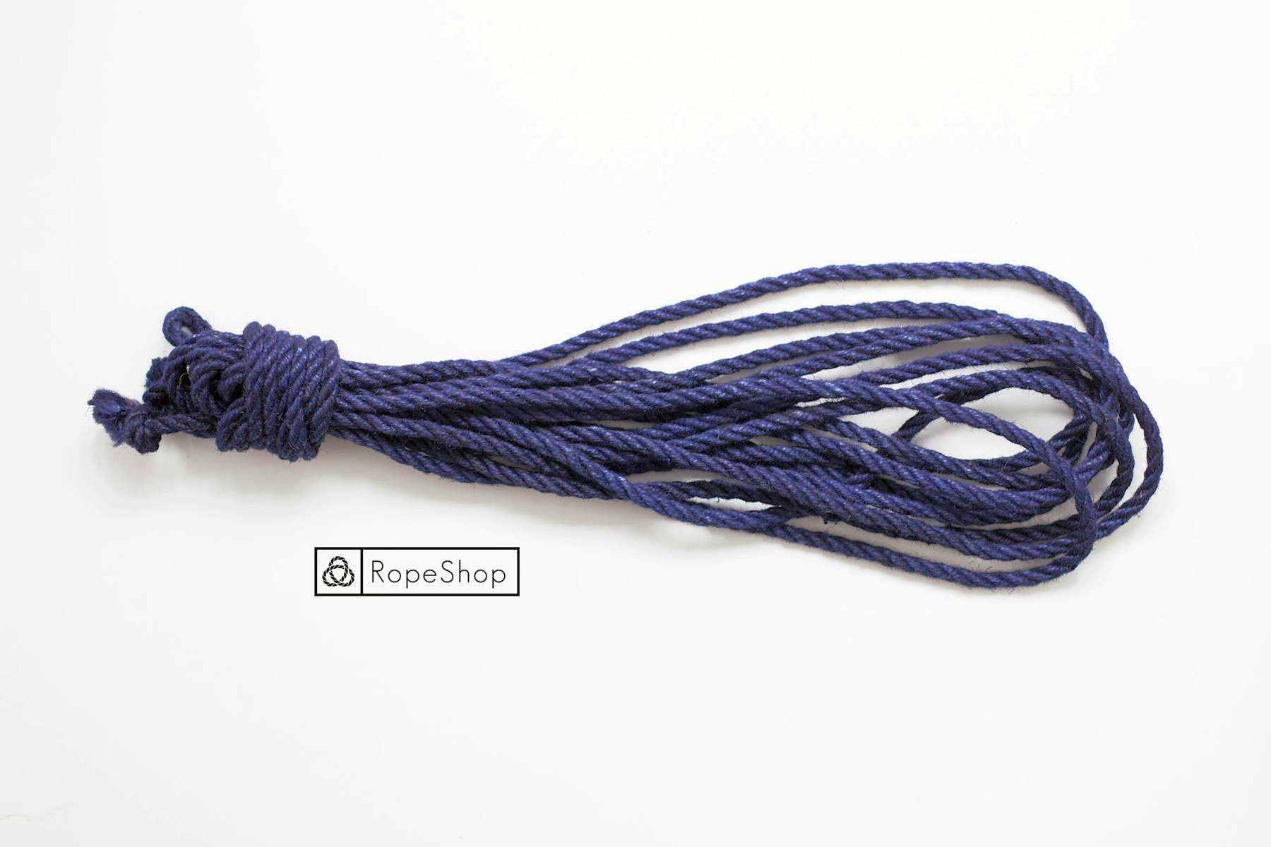 Веревка для шибари джутовая Korde (EU) обработанная, темно-синяя