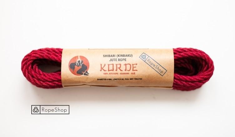 Веревка для шибари джутовая Korde (EU) обработанная, красная