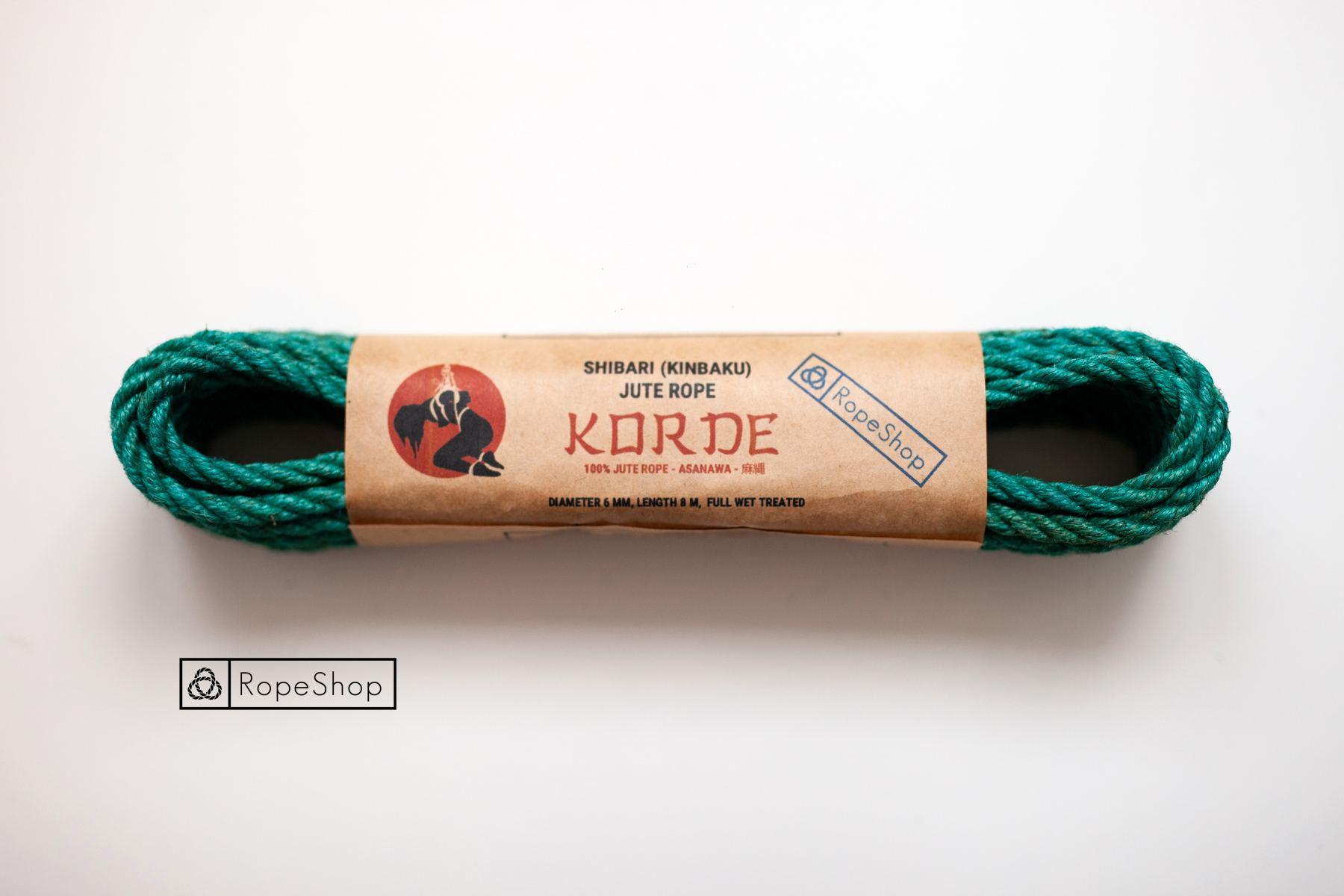Веревка для шибари джутовая Korde (EU) обработанная, бирюзовая