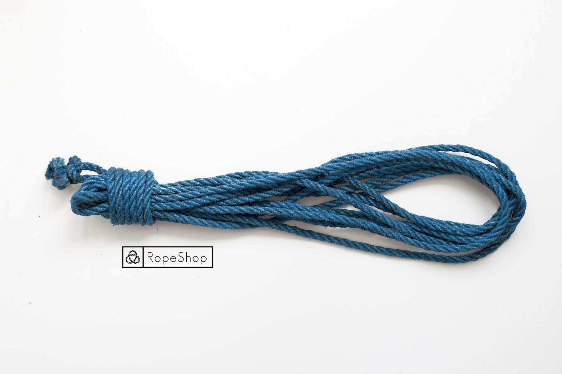 Веревка для шибари джутовая Korde (EU) обработанная, голубая