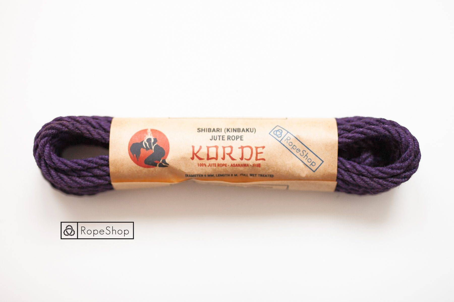 Веревка для шибари джутовая Korde (EU) обработанная, темно-фиолетовая