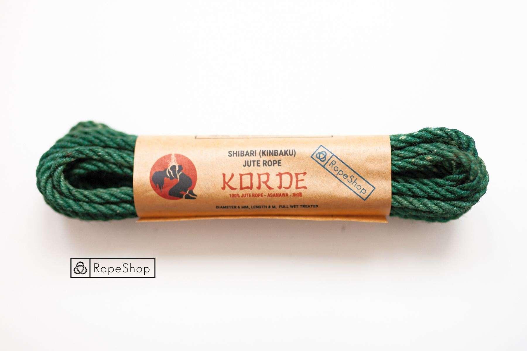 Веревка для шибари джутовая Korde (EU) обработанная, зеленая